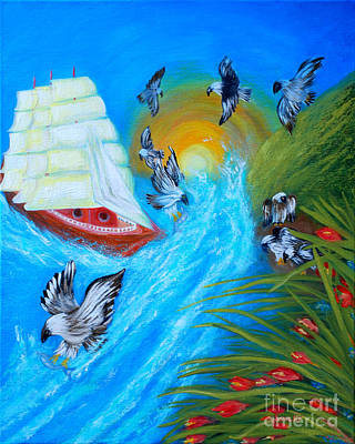 Painting - Nine Eagles For Success. Soul Collection by Oksana Semenchenko