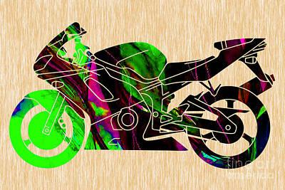 Motorcycle Mixed Media - Ninja Motorcycle  by Marvin Blaine