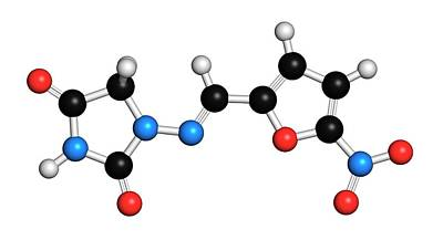 Nitrofurantoin Antibiotic Drug Molecule Art Print