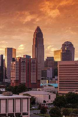 North Carolina, Charlotte, Elevated Art Print by Walter Bibikow