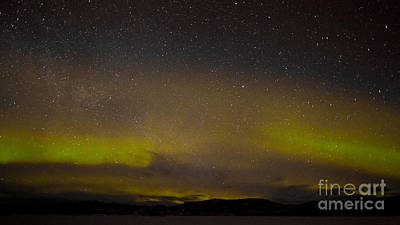 Surrealism Royalty-Free and Rights-Managed Images - Northern lights and myriad of stars by Stephan Pietzko