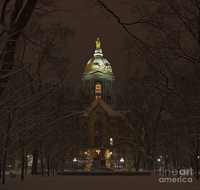 University Photograph - Notre Dame Golden Dome Snow by John Stephens