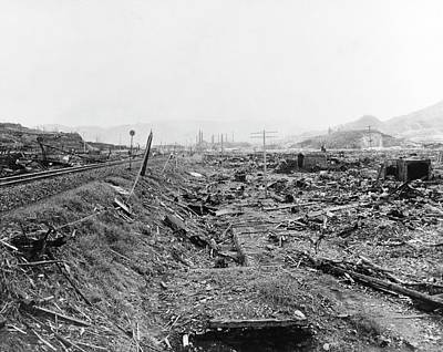 Flattened Photograph - Nuclear Destruction At Nagasaki by Us Navy