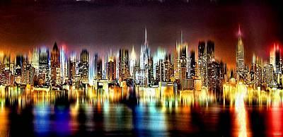 New York City Skyline Painting - Nyc Skyline by Daniel Janda