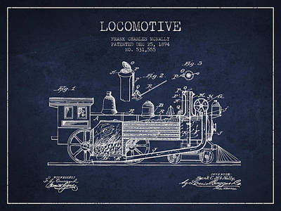 Train Digital Art - ocomotive Patent drawing from 1894 by Aged Pixel