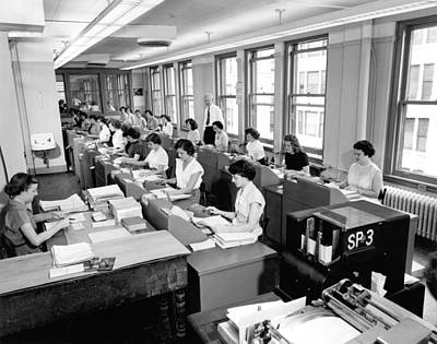 Keypad Photograph - Office Workers Entering Data by Underwood Archives