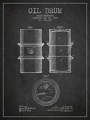 Oil Wells Drawing - Oil Drum Patent Drawing From 1905 by Aged Pixel