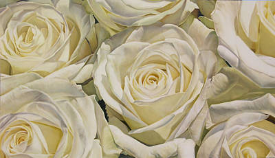 Oil Painting - Oil Painting White Roses by Thomas Darnell