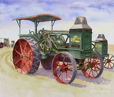Steam Tractor Painting - Oil Pull by David Dobs