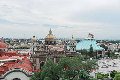 Photograph - Old Basilica And The Modern Basilica In Guadalupe Mexico. by Marek Poplawski