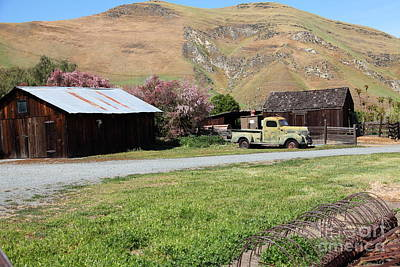 Old Dodge Truck At Ranch Along The Rolling Hills Landscape Of The Black Diamond Mines In Antioch Cal Print by Wingsdomain Art and Photography