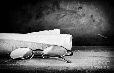 Paper Photograph - Old Glasses On Desk by Tim Hester