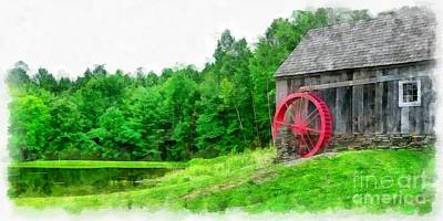 Old Grist Mill Vermont Red Water Wheel Art Print