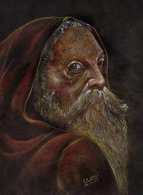 Pastel - Old Man by Prakash Leuva
