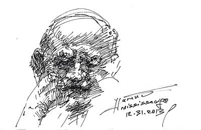 Homeless Man Drawing - Old Man by Ylli Haruni