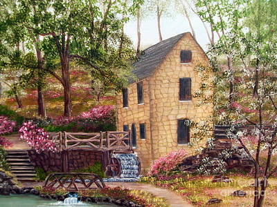 Replica Painting - Old Mill North Little Rock Arkansas by Vivian Cook