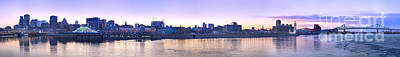 Photograph - Old Montreal By Night Panorama  by Laurent Lucuix