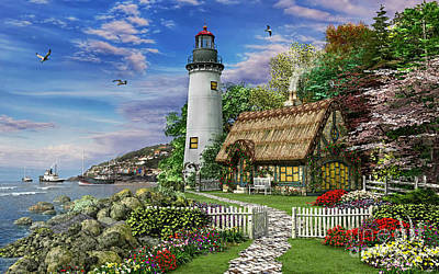Lighthouse Digital Art - Old Sea Cottage by Dominic Davison