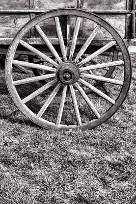 Historic Schooner Photograph - Old Wagon Wheel On Cart by Olivier Le Queinec
