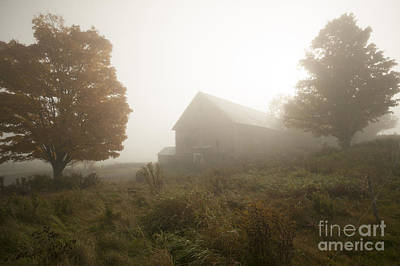 Photograph - Old Weathered Barn On A Foggy Autumn Morning by Don Landwehrle