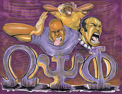 Omega Psi Phi Drawing - Omega Psi Phi II by Tu-Kwon Thomas