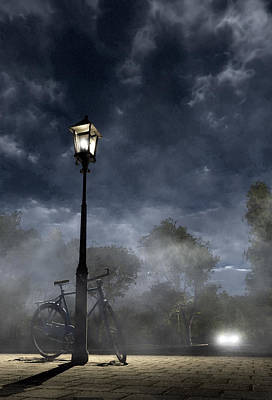 Lamppost Digital Art - Ominous Avenue by Cynthia Decker