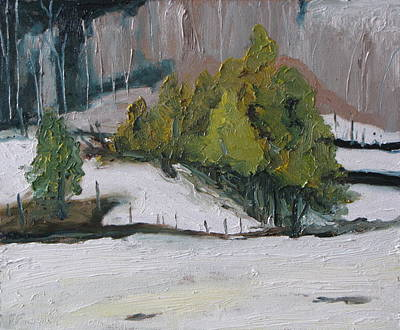 Eastern Townships Painting - On The White Hill by Francois Fournier