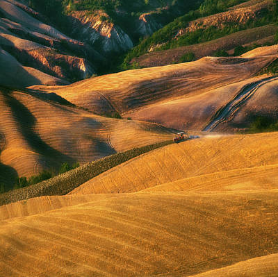 Tractor Wall Art - Photograph - On Waves... by Krzysztof Browko