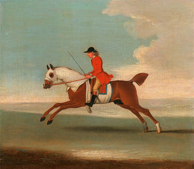Sporting Event Painting - One Of Four Portraits Of Horses - A Chestnut Racehorse by Litz Collection