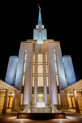 Fountain Wall Art - Photograph - Oquirrh Mountain Temple 1 by Chad Dutson