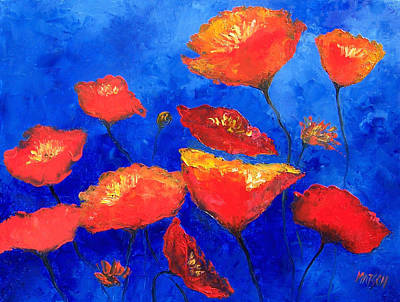Print Of Poppy Painting - Orange Poppies by Jan Matson