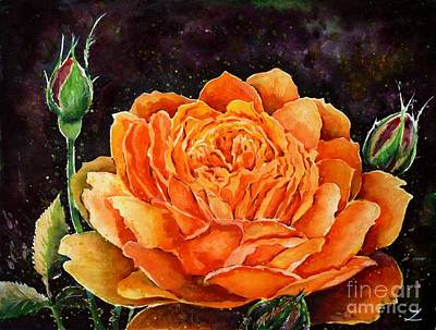 Most Popular Painting - Orange Rose by Zaira Dzhaubaeva