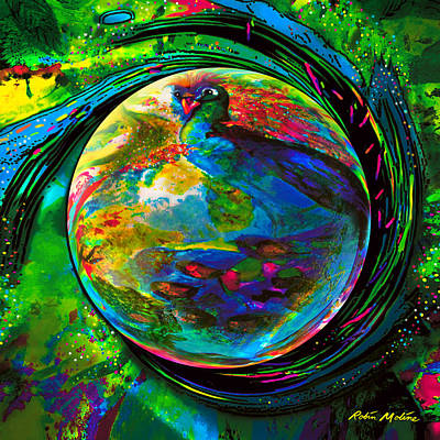 Round Digital Art - Orb Of Pavone by Robin Moline