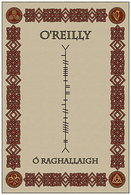 Print featuring the digital art O'reilly Written In Ogham by Ireland Calling