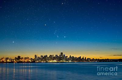 Orion Over Vancouver, Canada Art Print by David Nunuk