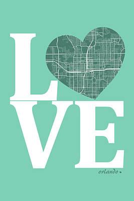 Love Digital Art - Orlando Street Map Love - Orlando Florida Road Map In A Heart by Jurq Studio