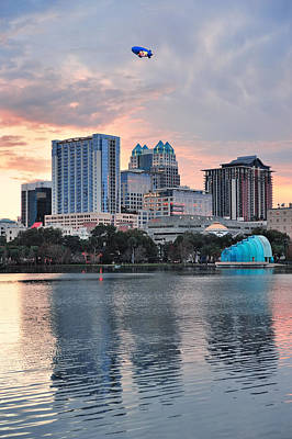 Photograph - Orlando Sunset Over Lake Eola by Songquan Deng