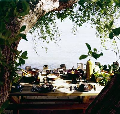 Photograph - Oscar De La Renta's Dining Table by Horst P. Horst