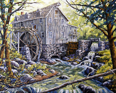 Walter Pranke Painting - Over Shot Mill by Richard T Pranke
