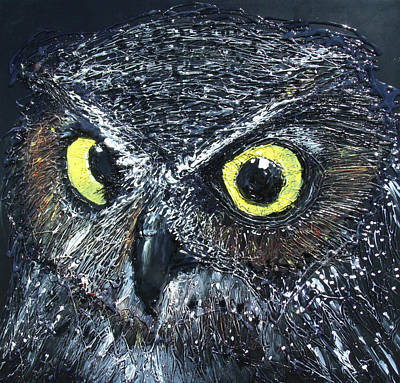 Impressionist Mixed Media - owl by Angela Stout