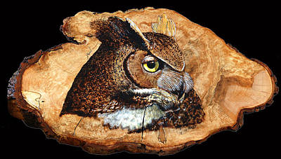 Pyrography - Owl On Oak Slab by Ron Haist