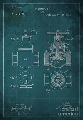 Red Roses - P. CONWAY VALVE Blueprint Patent by Drawspots Illustrations