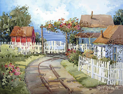 Picket Fence Painting - Pacific Out Back by Joyce Hicks