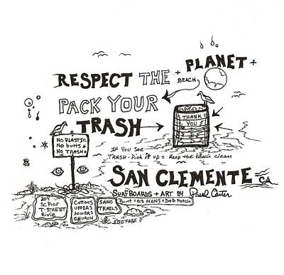 Drawing - Pack Your Trash by Paul Carter
