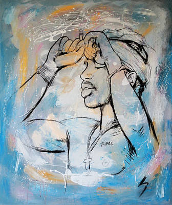 Rolling Stone Magazine Mixed Media - 2 Pactupac Shakur Painting Art Poster by Kim Wang