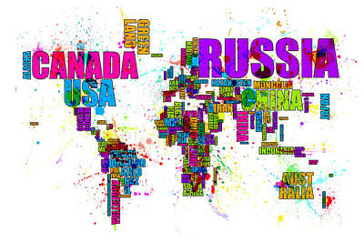 World Text Map Digital Art - Paint Splashes Text Map Of The World by Michael Tompsett
