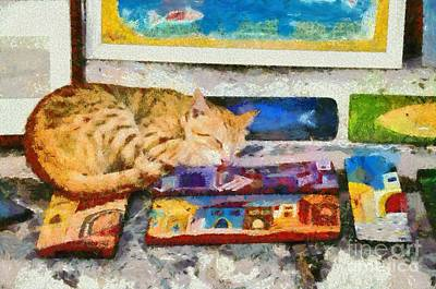 Painting - Painting Of Artist Cat by George Atsametakis