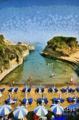 Sunshade Painting - Canal D' Amour Beach by George Atsametakis