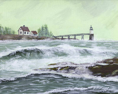 Maine Shore Painting - Ram Island Lighthouse During Storm by Keith Webber Jr