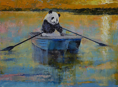 Rowboat Painting - Panda Reflections by Michael Creese